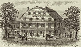 New York City draft riots - Bull's Head Hotel, depicted in 1830, was burned in the riot.