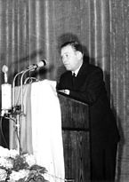 President of the Office for the Protection of the Constitution Otto John at his press conference in East Berlin
