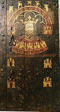 Sala de Poridad, antigua puerta de hierro, con cuatro cerrojos y esmaltes