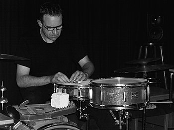 jazz drummer Burkhard Beins with bbb at Club W...