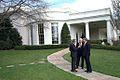 Bush, Cheney and Rumsfeld outside the Oval Office.jpg