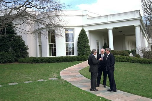 Bush, Cheney and Rumsfeld outside the Oval Office