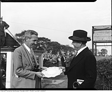 C. George McCullagh (left) receives award at Clarendon Plate, Thorncliffe Park race track (43532715841).jpg