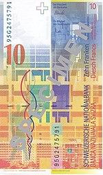 10 Franken Rückseite