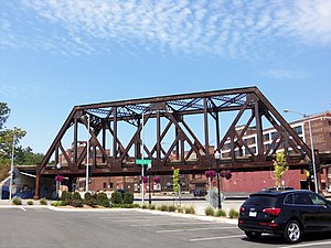 Crescent Warehouse Historic District - Railroad bridge over the intersection of East Fourth St. and Pershing Ave.
