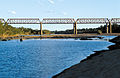 CSIRO ScienceImage 4396 Late afternoon view of the railway bridge across the Burdekin River near Charters Towers QLD.jpg