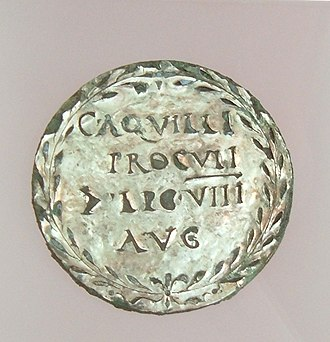 Revolt of the Batavi - Silver-plated medal, denoting the property of C. Aquilius Proculus, the primus pilus who organized the retreat of Roman troops from the Rhineland and was betrayed by his local auxiliaries. (Tac. Historiae IV-18). The medal was found on the Kops Plateau in Nijmegen.