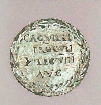 Aquillia (gens) - Medallion signifying the possession(s) of Gaius Aquillus Proculus, Centurion of the Leg VIII Augusta, Valkhof Museum, Nijmegen