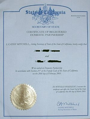 Domestic partnership in California - Example of California domestic partnership certificate.