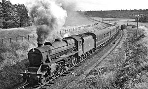 Callander and Oban Railway - Glasgow - Oban express in Pass of Leny, near Callander in 1961