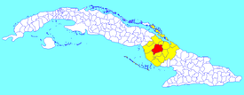 Camagüey municipality (red) within Camagüey Province (yellow) and Cuba