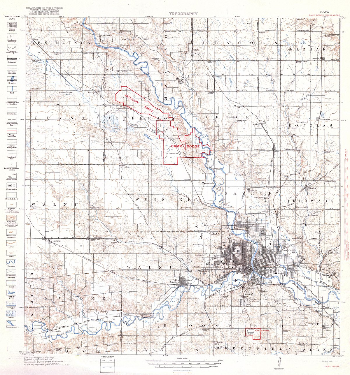 camp dodge iowa map File Camp Dodge Iowa Quadrangle Topographical Map 1918 Jpg camp dodge iowa map