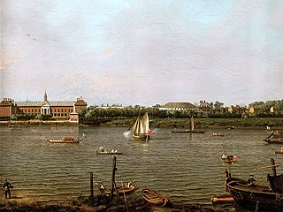 Chelsea College, the Rotonda, Ranelagh House and the Thames