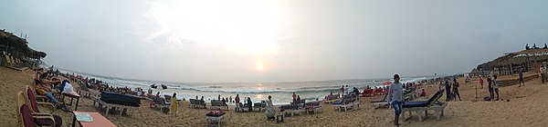 A panoramic view of sunset at Candolim Beach in 2018.