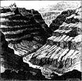 Canyon-like valley of Aparan river on the south-eastern slope of Alagez (Aragats) volcano near Echmiadzin in the Armenian highlands. Drawing by H. Abich, 1882.jpg