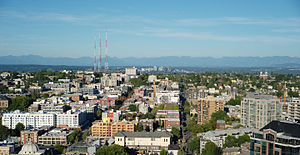 Capitol Hill (Seattle) - Capitol Hill, as seen from 9th Avenue and Pine street looking east.