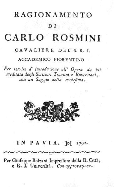 File:Carlo Rosmini Ragionamento degli Scrittori Trentini 1792.djvu