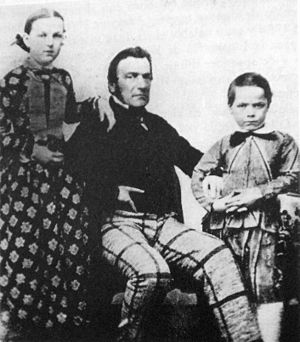 Charles Pellegrini - Charles Pellegrini with his eldest children,  Julia and Carlos