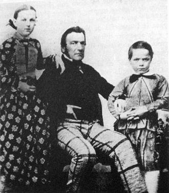 Charles Pellegrini - Charles Pellegrini with his eldest children,  Julia and Carlos