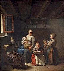Nursing mother with three girls