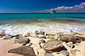 Catalina Island, La Romana, Dominican Republic. A cruise liner in coast waters of Catalina Isl, approaching the rocky shore. (landscape, view from the shore).jpg