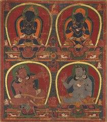 Vajradhara, Nairatmya, and Mahasiddhas Virupa and Kanha