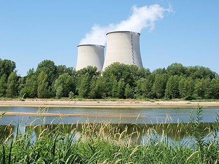 France derives most of its electricity from nuclear power, the highest percentage in the world. Photograph of the Belleville Nuclear Power Plant Centrale EDF de Belleville-FR-18-a05.jpg