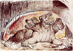 Cerberus - Cerberus, with the gluttons in the Third Circle of Hell. William Blake.