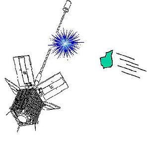 Cerise (satellite) - Illustration of debris colliding with Cerise