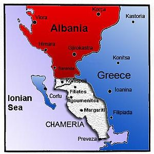 Cham Albanians - Chameria, within Albania and Greece