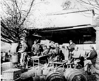 Buena Vista Winery - Sparkling wine being bottled during the early 1870s at Buena Vista, as photographed by Eadweard Muybridge.