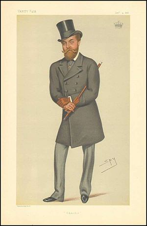 "Charles Murray, 7th Earl of Dunmore - ""Charlie"". Caricature by Spy published in Vanity Fair in 1878."