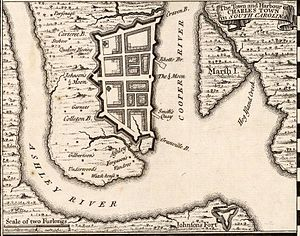 Lefebvre's Charles Town expedition - A 1733 map showing Charles Town and surrounding area. Fort Johnson is visible at the very bottom of the map.