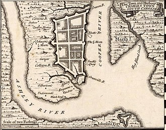 Charleston, South Carolina - Herman Moll's 1733 Town and Harbour of Charles Town in South Carolina, showing the town's defensive walls.