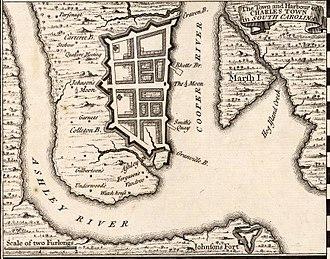 Charleston, South Carolina - Herman Moll's 1733 Town and Harbour of Charles Town in South Carolina, showing the town's defensive walls.