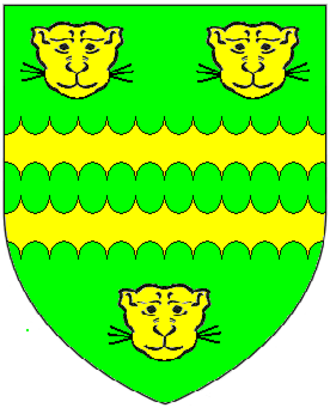 Sir John Child, 1st Baronet - Arms of Child Baronets (of the City of London): Vert, two bars engrailed between three lion's faces or