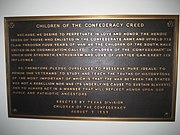 Children of the Confederacy Creed Plaque at TX Capitol
