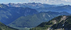 Chiwaukum Mountains - The Chiwaukum Mountains (left and center skyline), looking south southeast, with Big Chiwaukum (8081 feet, 2463 m), the highest point