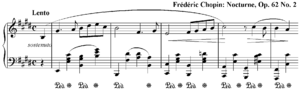 Homophony - Melody dominated homophony in Chopin's Nocturne in E Op. 62 No. 2. The left hand (bass clef) provides chordal support for the melody played by the right hand (treble clef).