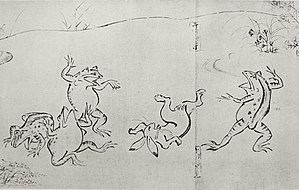 Toba Sōjō - Animals sumo wrestling on the first scroll of Chōjū-giga