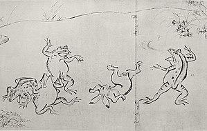 """Животные занимаются борьбой сумо на первом свитке """"Тёдзюгига"""""""