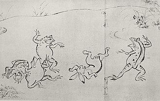 Toba Sōjō - Animals sumo wrestling on the first scroll of Chōjū-giga