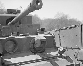 Churchill Crocodile - The flame projector on a Crocodile tank, photographed during trials in April 1944