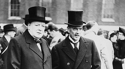 Churchill and Neville Chamberlain, the chief proponent of appeasement. Churchill and Chamberlain.jpg