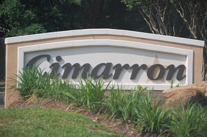 Cimarron, Texas - Sign at the entrance to Cimarron