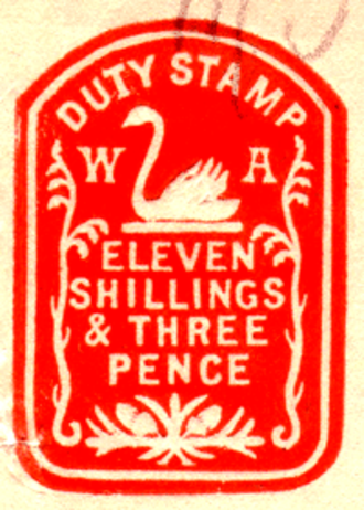 Revenue stamps of Western Australia - Impressed duty stamp for 11s/3d, circa 1907