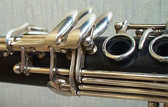 Key (instrument) - Details of a B-flat clarinet: keys for the little finger of the right hand.