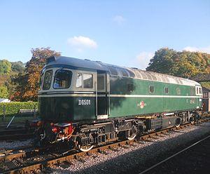 British Rail Class 33 - British Railways Class 33 D6501 runs round the train at Buckfastleigh on the South Devon Railway.