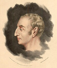 Tegning av bysten til en mann som ser mot venstre, svart hår, ansikt med fine trekk, langstrakt nese