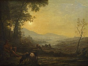 Claude glass - Painting by Claude Lorrain (1655–60) which shows the gradation of tone that artists hoped to emulate with the help of a Claude glass